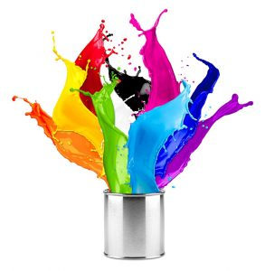 Paint can with different coloured paint exploding out.